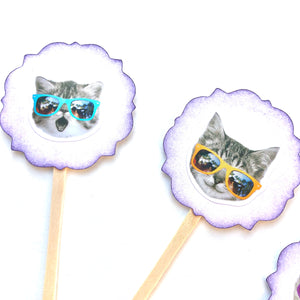 Cool Cat Funny Cupcake Toppers. Sunglasses. Cat Party. Cat Cupcake Decor. 80's Party Decor.