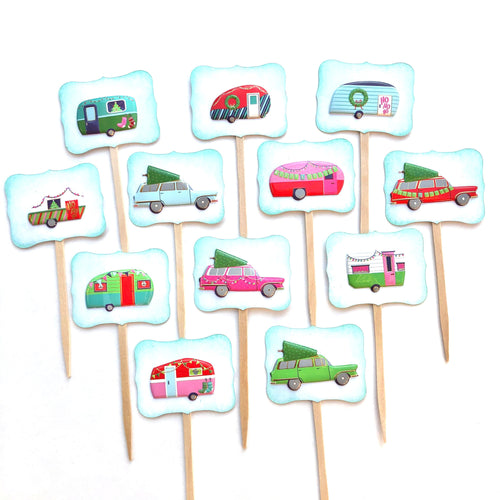 Christmas Vacation, Christmas Cupcake Toppers, Camper Decor, Happy Camper, Glamping