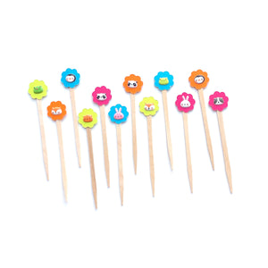 Cute Kawaii Animal Mini Cupcake Picks. Bright Color Cupcake Toppers. Party Animal. Set of 12.