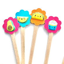 Load image into Gallery viewer, Cute Kawaii Food Mini Cupcake Picks. Set of 18. Foodie Cupcake Toppers.