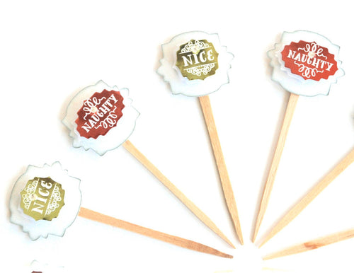 Naughty or Nice Cupcake Toppers. Christmas Cupcakes. Christmas Party Decor.