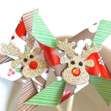 Load image into Gallery viewer, Reindeer Pinwheels. Glittery Rudolph Woodland Christmas Pinwheel Cupcake Toppers. Christmas Party Decor.