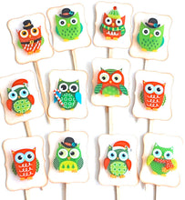 Load image into Gallery viewer, Christmas Food Picks. Owl Party Decor. Funny Fancy Christmas Owls Cupcake Toppers.