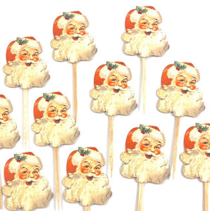 Santa Cupcake Toppers. Christmas Party Decor. Vintage Inspired Santa Christmas Cupcake Toppers.