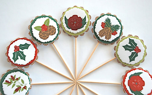 Nature Cupcake Toppers, Christmas Decor, Nature Decor, Pinecones, Poinsettias