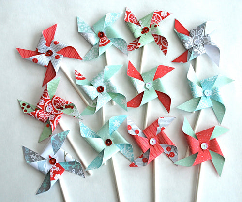 Snowy Pinwheels Cupcake Toppers, Red and Aqua Pinwheels, Winter Cupcake Toppers