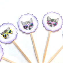 Load image into Gallery viewer, Cool Cat Funny Cupcake Toppers. Sunglasses. Cat Party. Cat Cupcake Decor. 80's Party Decor.