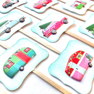 Christmas Vacation Cupcake Toppers. Christmas Party Decor. Campers and Cars Christmas Cupcake Toppers.