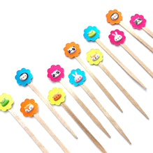 Load image into Gallery viewer, Cute Kawaii Animal Mini Cupcake Picks. Bright Color Cupcake Toppers. Party Animal. Set of 12.
