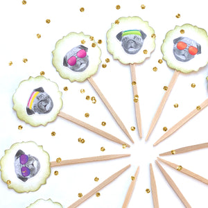 Pug Life Funny Cupcake Toppers. Pug Party. Dog Cupcake Decor.