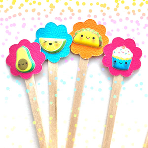 Cute Kawaii Food Mini Cupcake Picks. Set of 18. Foodie Cupcake Toppers.