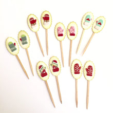 Load image into Gallery viewer, Winter Mitten Cupcake Toppers. Christmas Party Decor. Holiday Food Picks.