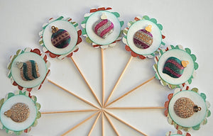 Christmas Ornament Cupcake Toppers, Christmas Decor