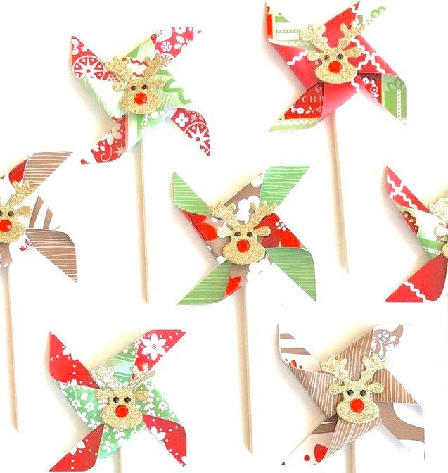 Reindeer Pinwheels. Glittery Rudolph Woodland Christmas Pinwheel Cupcake Toppers. Christmas Party Decor.