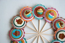 Load image into Gallery viewer, Cupcake Toppers. Shimmer Decorations. Heart Cupcakes Toppers. Valentines Day. Birthday Party Decor.
