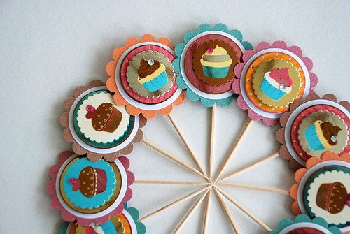 Cupcake Toppers. Shimmer Decorations. Heart Cupcakes Toppers. Valentines Day. Birthday Party Decor.