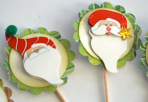 Santa Claus Cupcake Toppers. Whimsical Christmas Decor. Santa Food Picks. Christmas Party Decorations.