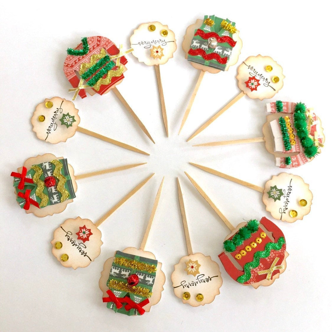 Ugly Christmas Sweater Party Decor. Ugly Sweater Cupcake Toppers. Very Merry Cupcake Toppers.