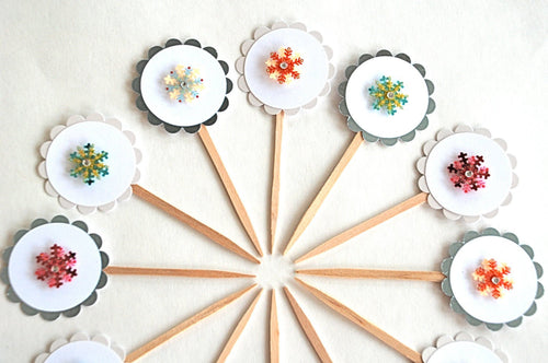 Snowflake Party Decor. Shimmery Snowflake Cupcake Toppers. Winter Onederland Party.