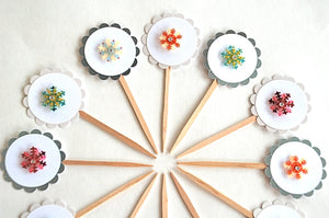 Snowflake Cupcake Toppers, Snowflake Party Decor, Winter Onederland