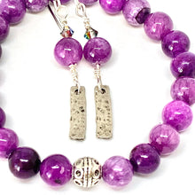 Load image into Gallery viewer, Good Vibes Only, Purple Quartzite Bracelet and Earring Set, Purple Jewelry, Swarovski Crystals