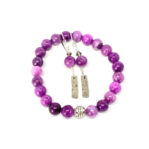 Good Vibes Only, Purple Quartzite Bracelet and Earring Set, Purple Jewelry, Swarovski Crystals