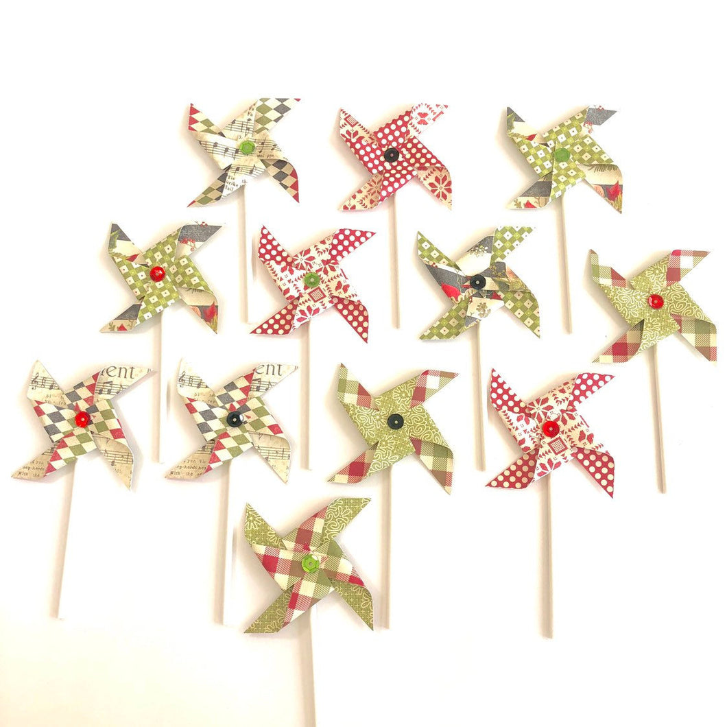 Holiday Cupcake Toppers. Christmas Pinwheels. Christmas Party Decor. Red Green and Black Pinwheel Cupcake Toppers