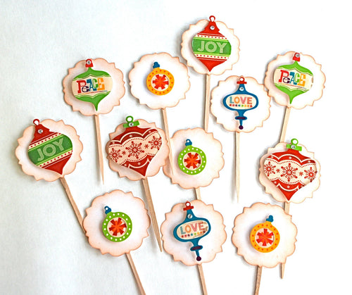 Handmade Ornament Cupcake Toppers. Peace, Love and Joy Christmas Cupcake Toppers. Christmas Party Food Picks.