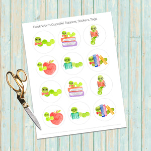 Bookworm Sticker, Bookworm Party, Printable Stickers, Book Club Gifts, Homeschool Printables, Bookworm Cupcakes, Book Club, Book Lover Gift