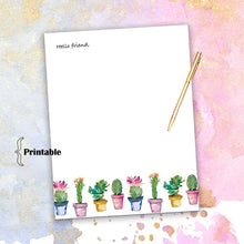 Load image into Gallery viewer, Watercolor Cactus Stationary, Printable Stationary, Floral Stationary, Cactus Stationary, Printable Thank You, Cactus Party