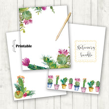 Load image into Gallery viewer, Watercolor Cactus Stationary, Printable Stationary, Floral Print, Spring Stationary, Cactus Stationary, Mother's Day Gift, Cactus Party