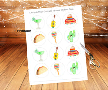 Load image into Gallery viewer, Cinco de Mayo Cupcake Toppers, Taco Twosday, Taco Bout a Baby, Margarita Party, Let's Fiesta, Maracas Baby, Cinco de Mayo Decor, Sticker Set