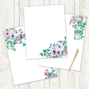 Floral Pink and Green Watercolor Stationary , Stationary Printable, Wedding Stationary