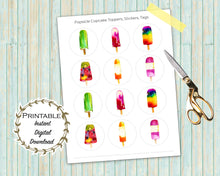 Load image into Gallery viewer, Popsicle Cupcake Toppers, Popsicle Printable, Popsicle Party, Popsicle Printable Stickers, Popsicle Watercolor, Fruit Pop