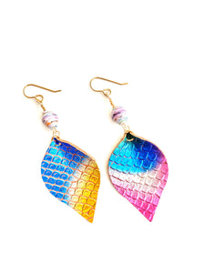 Mermaid Earrings, Rainbow Earrings, Mermaid Scale Earrings, Teardrop Earrings, Leather Jewelry, Fair-trade Paper Beads, Boho Earrings