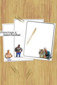 Tiger King Stationary, Tiger King Printable, Joe Exotic, Tiger King, Joe Exotic Stationary, White Trash Bash