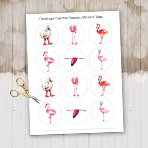 Pink Flamingo Cupcake Toppers, Flamingo Decor, Flamingo Printable, Flamingo Stickers, Flamingo Cupcakes, Flamingo Party, Baking Gifts