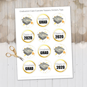 Graduation 2020, Graduation Printable Bundle, Graduation Cupcake Toppers, Stationary, Graduation Decor, Congratulations Grad, Class of 2020