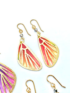 Fairy Wings Fairy Earrings, Butterfly Wing Earrings, Cool Earrings, Coral and Yellow Earrings
