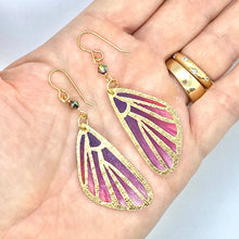Load image into Gallery viewer, Butterfly Wing Earrings, Fairy Wings Fairy Earrings, Cool Earrings, Pink and Purple Earrings