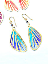Load image into Gallery viewer, Fairy Wings Fairy Earrings, Butterfly Wing Earrings, Cool Earrings, Teal and Purple Earrings