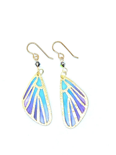 Fairy Wings Fairy Earrings, Butterfly Wing Earrings, Cool Earrings, Teal and Purple Earrings
