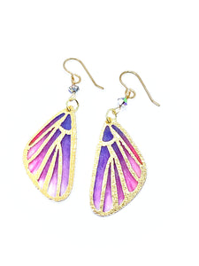Butterfly Wing Earrings, Fairy Wings Fairy Earrings, Cool Earrings, Pink and Purple Earrings