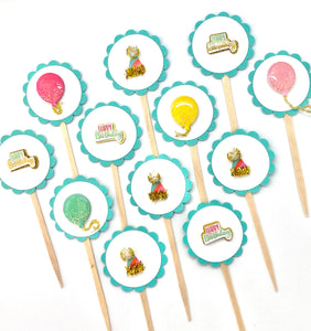 Birthday Cupcake Toppers, Happy Birthday, Birthday Party Decor, Balloon Toppers, Party Hats