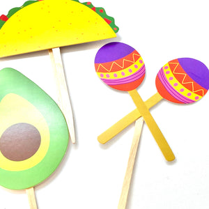 Taco Party, Taco bout a Baby, Taco Twosday, Fiesta Cupcake Toppers, Quinceañera, Piñata Party, Fiesta Sticker Set