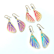 Load image into Gallery viewer, Fairy Wings Fairy Earrings, Butterfly Wing Earrings, Cool Earrings, Coral and Yellow Earrings