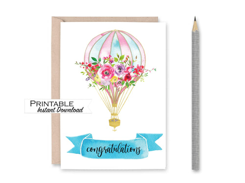 Congratulations Card, Hot Air Balloon Card, Baby Shower Card, Printable Card