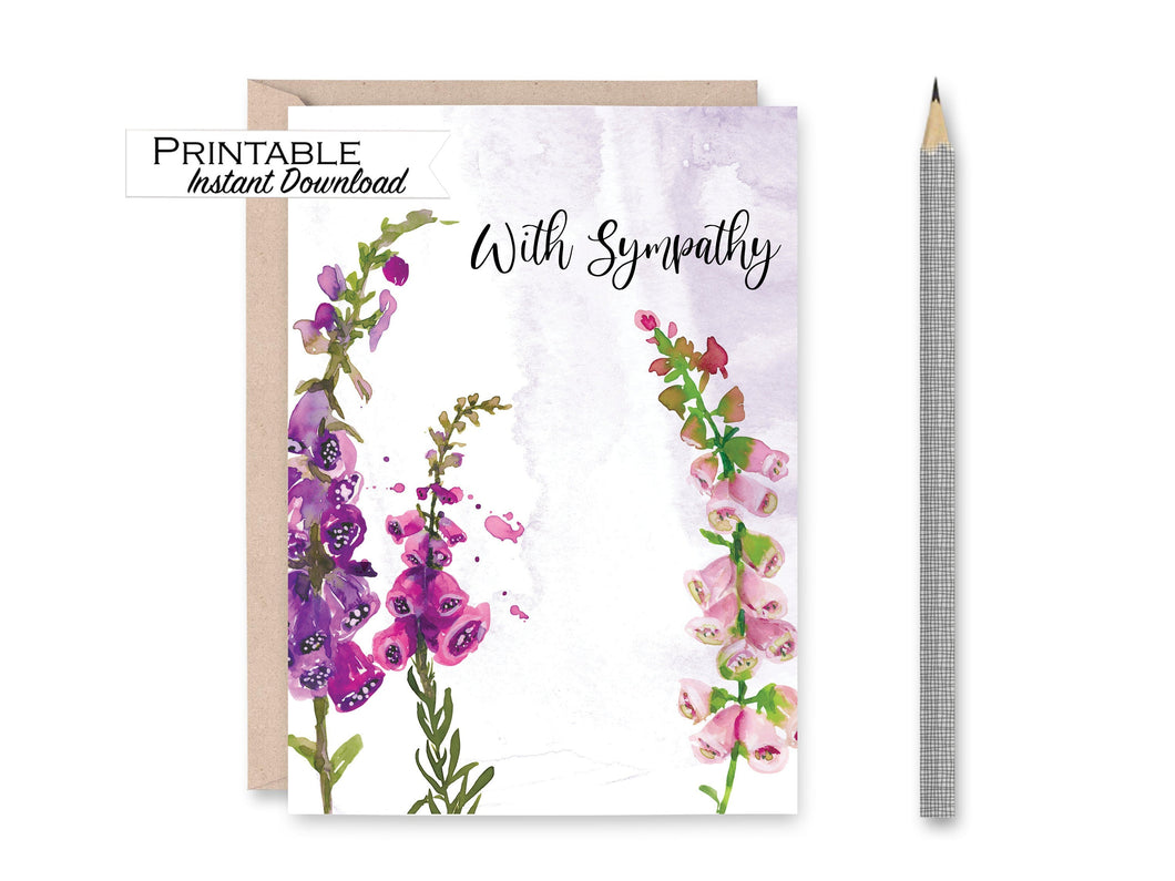 Sympathy Card, With Sympathy, Purple Floral Card, Printable Card