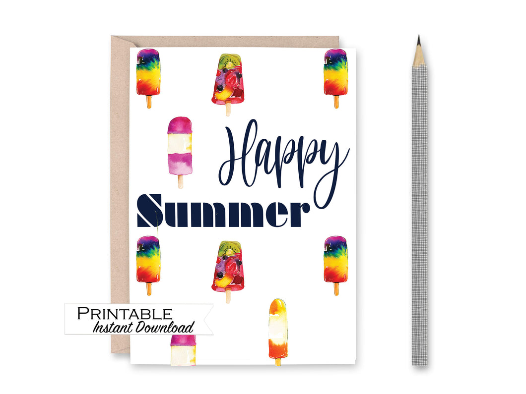 Happy Summer Card, Popsicle Card, Printable Card