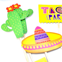Load image into Gallery viewer, Taco Party, Taco bout a Baby, Taco Twosday, Fiesta Cupcake Toppers, Quinceañera, Piñata Party, Fiesta Sticker Set
